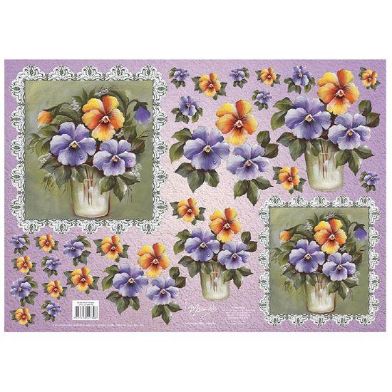 Papel decoupage flores amor perfeito dfg407n palaciodaarte - Papel decoupage infantil ...