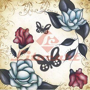 Adesivo-Quadrado-Pequeno-Flores-Borboleta-Litocart-LAQP-16
