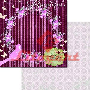 Papel-Scrapbook-Duplo-Passarinho-Borboletas-LSCD-212-Litocart