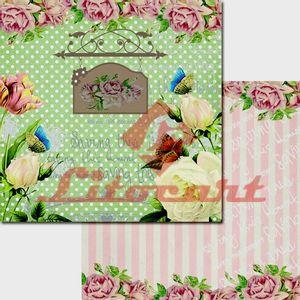 Papel-Scrapbook-Duplo-Flores-Borboletas-LSCD-203-Litocart