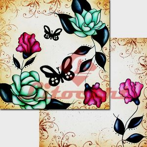 Papel-Scrapbook-Duplo-Flores-Borboletas-LSCD-215-Litocart