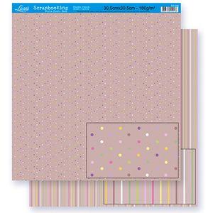 Scrapbook-Folha-Dupla-Face-Bolinha-Listra-SD-304-Litoarte