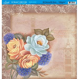 Papel-Scrap-Decor-Folha-Simples-Rosas-London-SS-084---Litoarte-