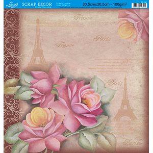 Papel-Scrap-Decor-Folha-Simples-Rosas-Paris-SS-083---Litoarte
