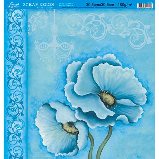 Papel-Scrap-Decor-Folha-Simples-Flores-SS-081---Litoarte-