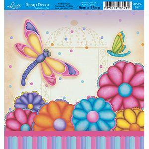 Papel-Scrap-Decor-Folha-Simples-15x15-Flores-Borboleta-SDSXV-017---Litoarte