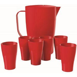 Kit-com-1-Jarra-2L-e-6-Copos-300ml-Vermelho-em-Polipropileno-UZ146-VM---UZ-Utilidades