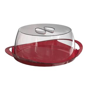 Porta-Bolo-Vermelho-com-tampa-Transparente-em-Poliestireno-UZ167-VM---UZ-Utilidades