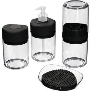 Kit-Higiene-4-pecas-Transparente-com-Divisoria-Preta-UZ512-PR---UZ-Utilidades