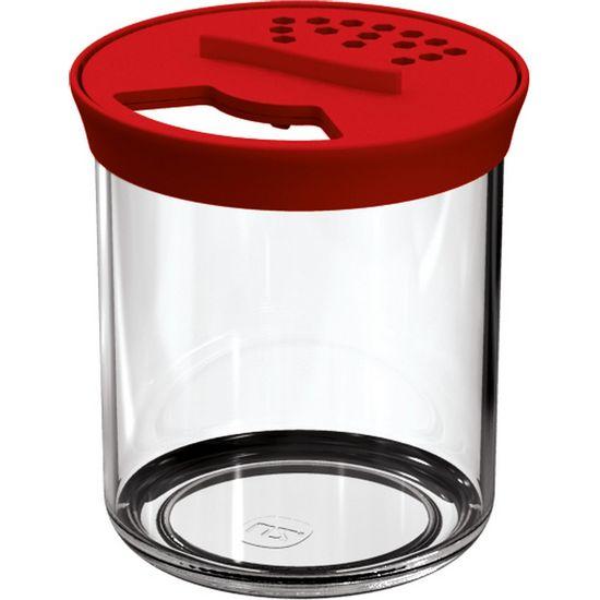Farinheiro-P-Transparente-com-Tampa-Vermelha-Clara-Poliestireno-UZ305-VM---UZ-Utilidades