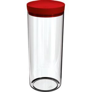 Pote-Mantimentos-25L-Transparente-com-Tampa-Vermelho-UZ311-VM---UZ-Utilidades