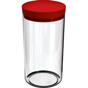 Pote-Mantimentos-19L-Transparente-com-Tampa-Vermelho-UZ312-VM---UZ-Utilidades