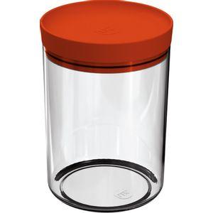Pote-Mantimentos-14L-Transparente-com-Tampa-Laranja-UZ313-LA---UZ-Utilidades