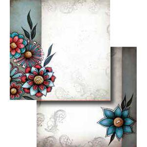 Papel-Scrapbook-Duplo-Flores-LSCD-243-Litocart
