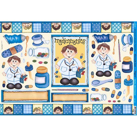Papel decoupage grande medicamentos pd 129 litoarte - Papel decoupage infantil ...
