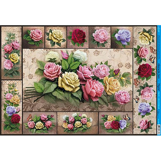 Papel decoupage grande flores pd 883 litoarte - Papel decoupage infantil ...