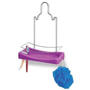 Porta-Shampoo-Simples-Cromo-Colors-Aco-e-Plastico-Lilas-348-8---Niquelart