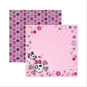 Papel-Scrapbook-Dupla-Face-Caveiras-Pink-Floral-SDF449---Toke-e-Crie