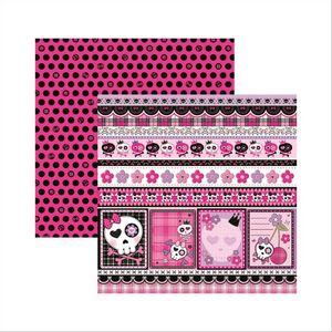 Papel-Scrapbook-Dupla-Face-Caveiras-Pink-Barrinhas-SDF451---Toke-e-Crie-