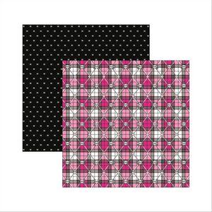 Papel-Scrapbook-Dupla-Face-Caveiras-Pink-Xadrez-SDF452---Toke-e-Crie