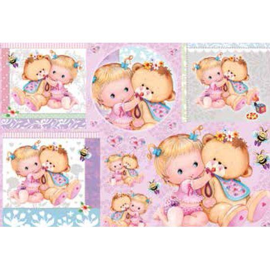 Papel decoupage grande beb ursinha ld765 litocart - Papel decoupage infantil ...
