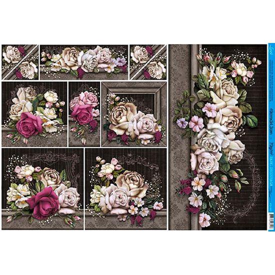 Papel decoupage grande flores pd 891 litoarte - Papel decoupage infantil ...