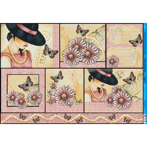 Papel-Decoupage-Grande-Mulher-Flores-e-Borboletas-PD-823---Litoarte