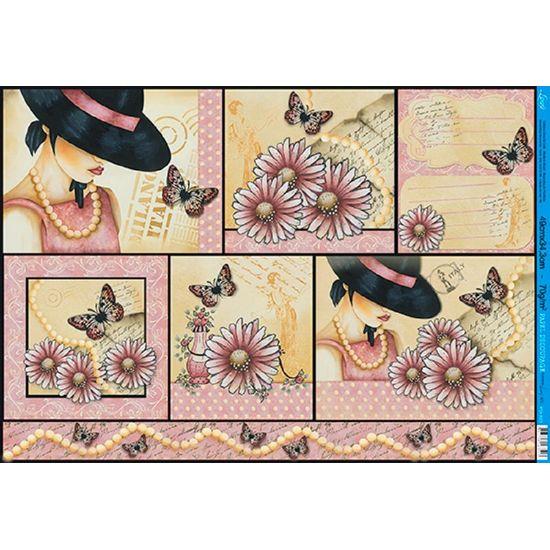 Papel decoupage grande mulher flores e borboletas pd 823 - Papel decoupage infantil ...