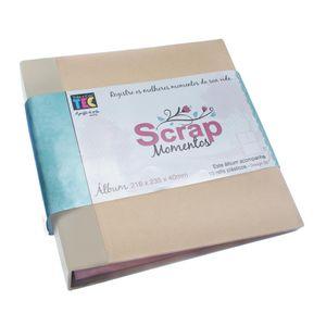 Album-pScrapbook-Momentos-22x24cm-Marfim-e-Kraft-ASM001---Toke-e-Crie