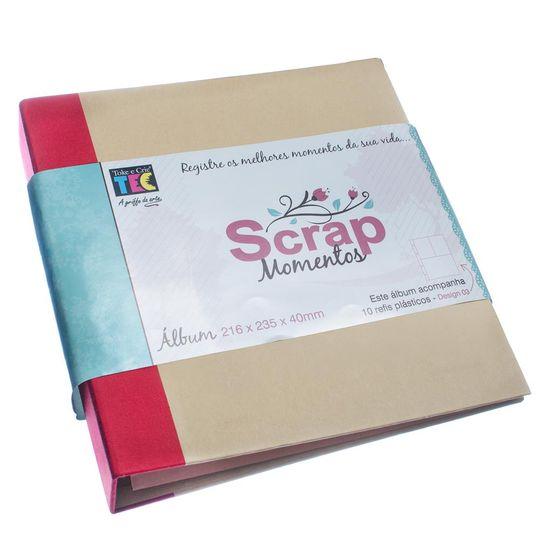 Album-pScrapbook-Momentos-22x24cm-Vermelho-e-Kraft-ASM003---Toke-e-Crie