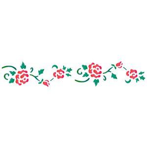 Estencil-para-Pintura-Simples-6x30-Ramo-de-Rosas-II---OPA958---Opa