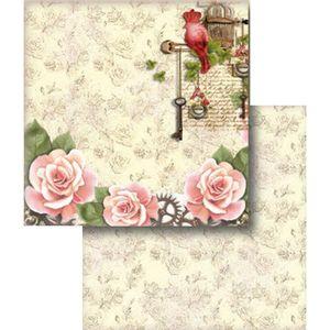 Papel-Scrapbook-Folha-Dupla-Flor-e-Passaro-LSCD-305---Litocart