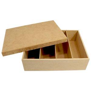Caixa-para-Vinho-ou-Chanpagne-e-Taca-4-Divisoes-Tampa-de-Sapato-Lisa---MDF