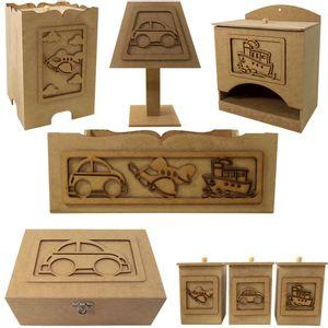 Kit-Higiene-para-Bebe-Transportes-8-pecas-com-Abajur-e-Farmacinha---MDF-a-Laser