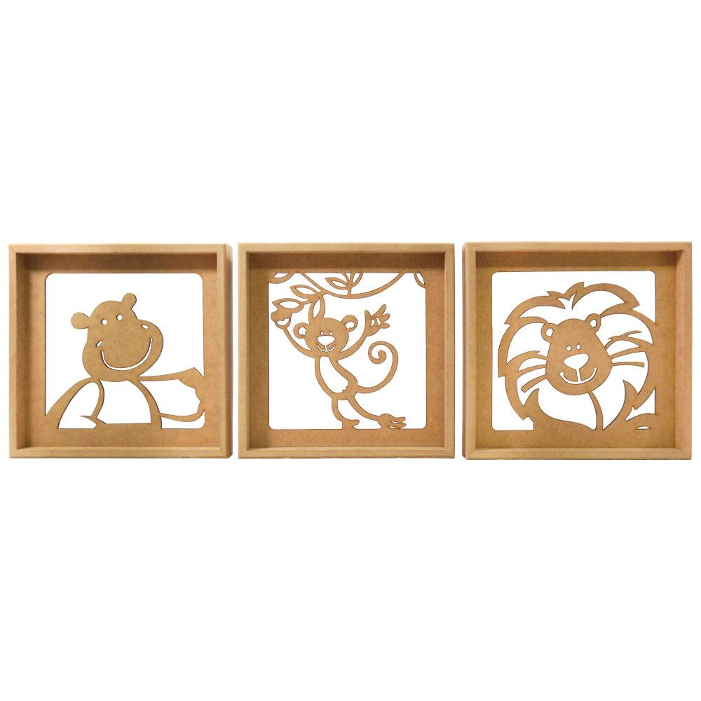 Trio De Quadros Decorativo 3d Safari Bacana Mdf A Laser  ~ Quarto De Bebe Bege E Marrom E Quadros Quarto Masculino