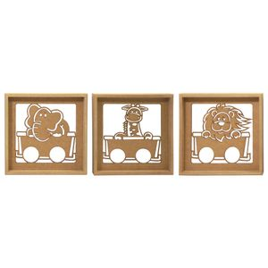 Trio-de-Quadros-Decorativo-3D-Safari-Motorizado---MDF-a-Laser
