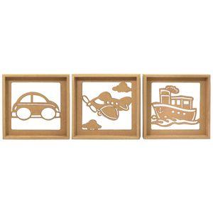 Trio-de-Quadros-Decorativo-3D-Transportes---MDF-a-Laser