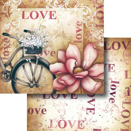 Papel-Scrapbook-Dupla-Face-Love-com-bicicleta-e-Flor-LSCD-317---Litocart