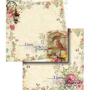Papel-Scrapbook-Dupla-Face-Flores-com-Passaro-e-Gaiola-LSCD-322---Litocart