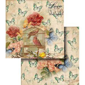Papel-Scrapbook-Dupla-Face-flores-com-Passaro-e-Borboletas-LSCD-330---Litocart