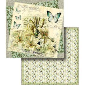 Papel-Scrapbook-Dupla-Face-Flores-com-Borboleta-LSCD-331---Litocart