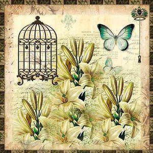 Papel-Scrapbook-com-Glitter-Borboleta-com-Flores-e-Gaiola-LSCG-022---Litocart