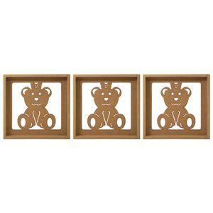 Trio-de-Quadros-Decorativo-3D-Ursinha-com-Laco---MDF-a-Laser