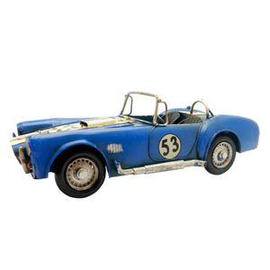 Carro-Esportivo-de-Corrida-Azul-Retro-em-Metal-Miniatura---The-Home