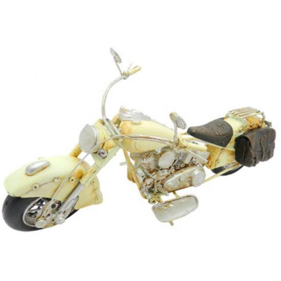 Moto-Harley-Chopper-Amarela-Retro-em-Metal-Miniatura---The-Home