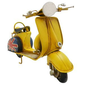 Moto-Scooter-Amarela-Britanica-Retro-em-Metal-Miniatura---The-Home