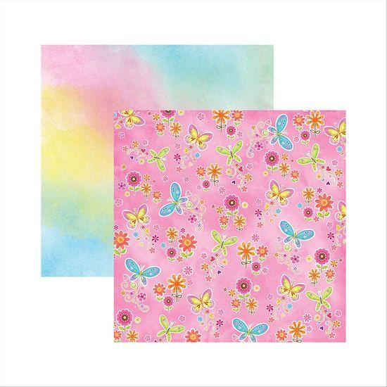 Papel-Scrapbook-Dupla-Face-Borboletas-Coloridas-Flores-SDF547---Toke-e-Crie