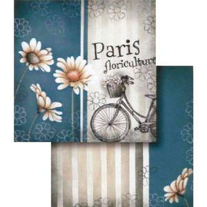 Papel-Scrapbook-Dupla-Face-Bicilcleta-com-Flores-LSCD-162---Litocart
