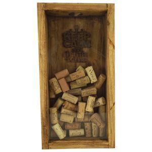 Quadro-para-Rolhas-de-Vinho-40x21x65cm-com-Vidro-Decorado---Madeira-Pinus