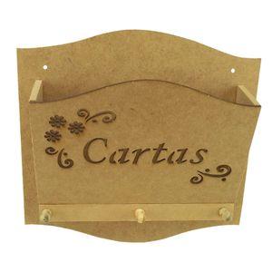 Porta-Cartas-e-Chaves-Arabesco-Flor-com-3-Pinos---Madeira-MDF